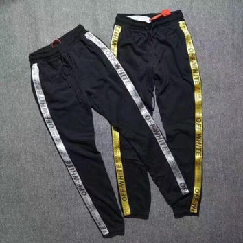 2017 in stock off white pants men women skateboard Sweatpants men hip hop street Casual pants joggers pants
