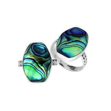 AR-6214-AB-6'' Sterling Silver Ring With Abalone Shell