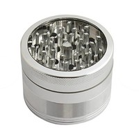 2.5 Inch Aluminum Herb Grinder 4 Piece and Tobacco Grinder with Pollen Catch&free Scrapper Color Silver