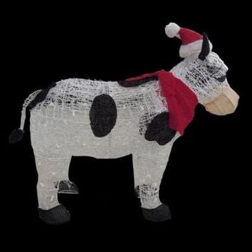 36 in. Lighted Acrylic and Tinsel Cow with Santa Hat, TY294-1311-1 at The Home Depot - Tablet