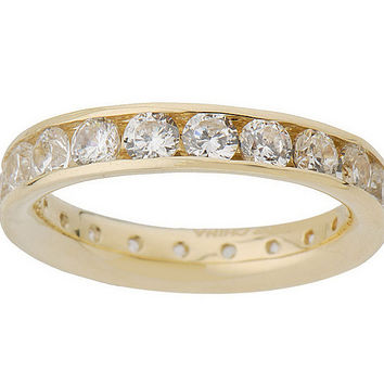 Diamonique 1.80 cttw Silk Fit Eternity Band 14K Gold — QVC.com