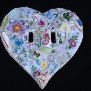 "Double Light Switch Plate cover Mosaic Heart shape flowers roses Butterfy Tulip 7"" x 7"" OOAK Handcrafted"