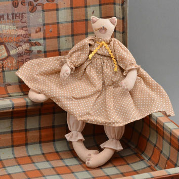 Soft toy cat with polka-dot pattern dress fabric stuffed toy handmade gift