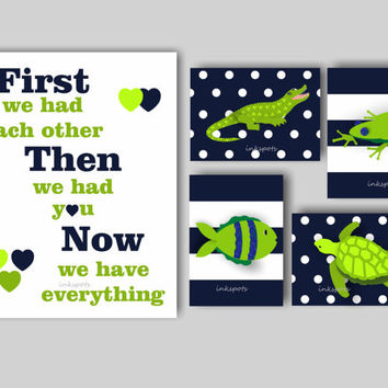 Baby Boy Nursery Art Alligator Nursery Bedding Decor Boys Room Alligator Wall Art ABC Nursery Turtle Nursery Choose Colors - 6 8 x 10 Prints