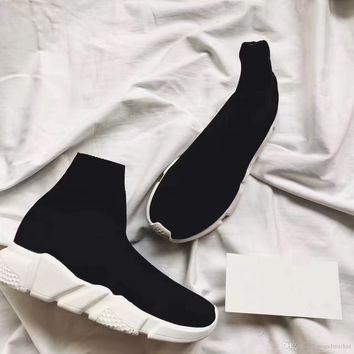 Balenciaga Double Box Speed Trainer Boots Socks Stretch-Knit High Top Trainer Shoes Ch