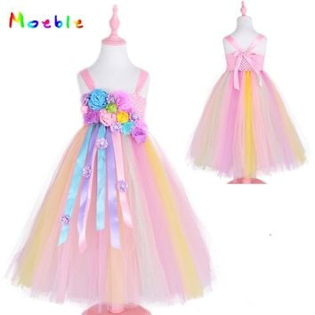 Rainbow Unicorn Princess Dress Flower Girls Tutu Dress Elegant Wedding Dresses  Birthday Halloween Party Vestido De Festa Longo