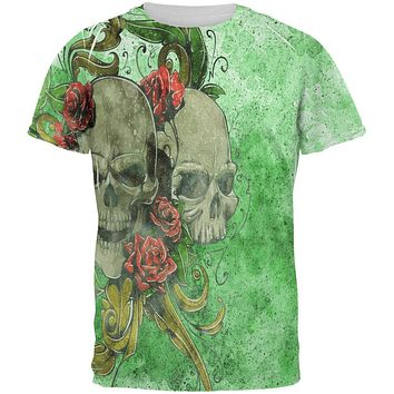 St. Patricks Day Deadly Wild Irish Rose Skull Tattoo All Over Mens T Shirt