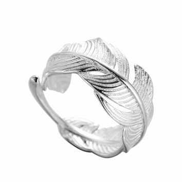 Hfarich 925 Sterling Silver Ring Adjustable Feather Ring  for Women Simple Leaf Rings Punk Jewelry Anniversary Gift