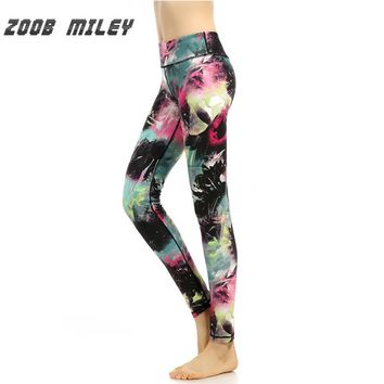 Women Yoga Leggings Vintage Print