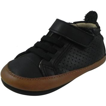 Old Soles Boy's & Girl's 074 Cheer Bambini Black Soft Leather Slip On Crib Walker Baby Shoes