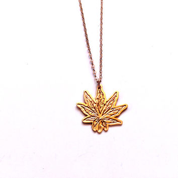 Gold Marijuana Flower Necklace  Cannabis Flower Icon Jewelry Design Logo Necklace Beep Jewelry Gold Plated Small Pendant Miniature