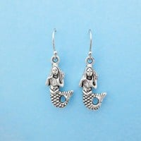 Lovely, Mermaid, Silver, Earrings
