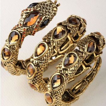 Stretch snake bracelet armlet upper arm cuff  for women punk rock crystal bangle jewelry antique gold silver color dropship A32