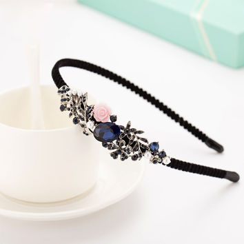 Fashion Antique Bow Headbands jewelry Butterfly Decorated Accessories For Women Blue New Year Girls Hair Hoops Gift