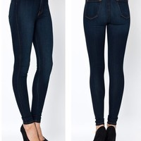 New! High Waist Hot Fashion Trends Skinny Jean Pants Size 1 ~ 15 CLASSIC DENIM