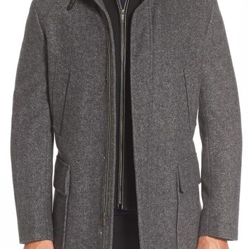 Cole Haan Wool Blend Car Coat with Removable Knit Bib | Nordstrom