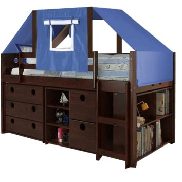 Tristan Loft Bed with Storage and Blue Fort