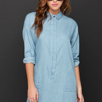 Shimmy Shimmy Chambray Light Wash Shirt Dress