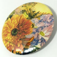 Flower Arrangement Bouquet in Watercolor Artists Collectable Pin On Button,Beautiful Painted Yellow and Purple Flowers Collectors Art Button