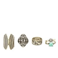 Rhinestone & Marble Stackable Rings - 5 Pack