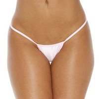 Micro Low Back Tee Thong  - Baby Pink - One Size