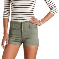 Refuge Colored High-Waisted Shorts by Charlotte Russe - Sage