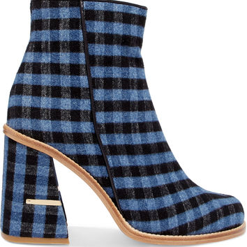 Nora leather-trimmed gingham felt ankle boots | Tibi | UK | THE OUTNET