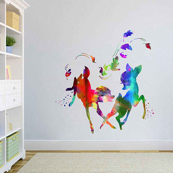kcik2104 Full Color Wall decal Watercolor Bambi Character Disney Sticker Disney children's room Fawn