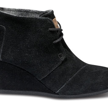 TOMS Desert Wedge Women Black Suede