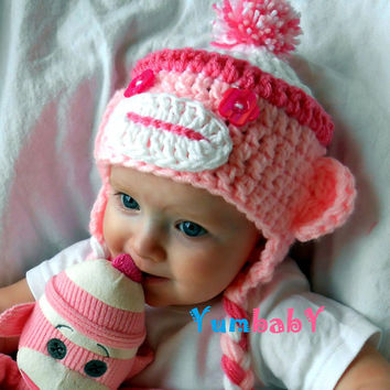 Baby Sock Monkey Hat Pink Monkey Hats Handmade Baby Cap Girl Clothes Baby Hats