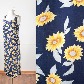1990s Sunflower Dress / Vintage Sunflower Print Dress / Floral Print Maxi Dress / Pastel Grunge 90s Dress / Bohemian Soft Grunge Dress