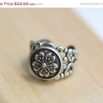 on sale Ring, Cherry Blossom Flower Ring, Silver  Ring, Ring,Antique Ring,Silver Ring,Wrapped,Adjustable,Bridesmaid.