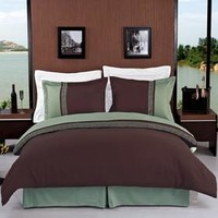 Astrid Sage & Chocolate Embroidered 3-Piece Duvet Cover Set
