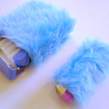 Cute Cigarette Case, Bic Lighter Case Cover, Turquoise Faux Fur