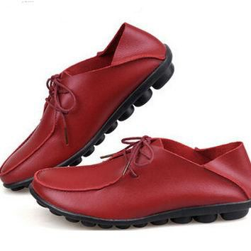 2016 new spring women flats shoes Genuine leather casual single shoes flat heel loafer