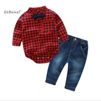 E&Bainel Fashion Baby Boy Clothes Set 2Pcs/set Long Sleeve Plaid Romper+ Jean Pants Baby Boy Clothing