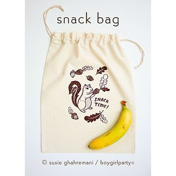 "Organic ""Snack Time"" Snack Bag - Drawstring Reusable Lunch Bag"