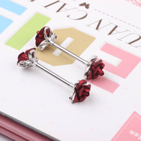 2pcs Nipple Rings surgical Steel Sexy flower Mamilo Rings Barbell Body Jewelry Nipple Bar ring Piercing for Women plug tunnels