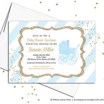 Boy baby shower invites printable - blue and gold baby shower invitation - blue stripes - baby carriage - printable or printed (736)