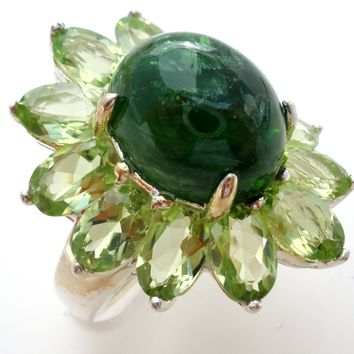 Green Gemstone Ring Sterling Silver Size 5