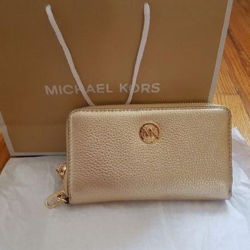 DCCKB7E Authentic Gold Color Michael Kors Phone Wallet