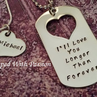 Custom Hand Stamped Matching Necklace Set - I'll love you longer than forever - Jewelry - His and Hers
