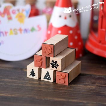 Christmas Decoration Wood Stamp Handmade DIY Ink Pad Rubber Stamp Set Wooden Stamps for Scrapbooking Decoration tinta sellos