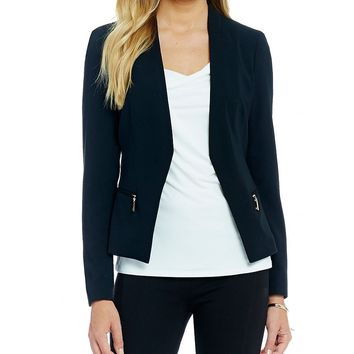 Ivanka Trump Zip Pocket Open Front Crepe Jacket | Dillards