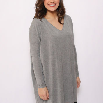 Piko V-Neck Tunic Top: Heather Gray