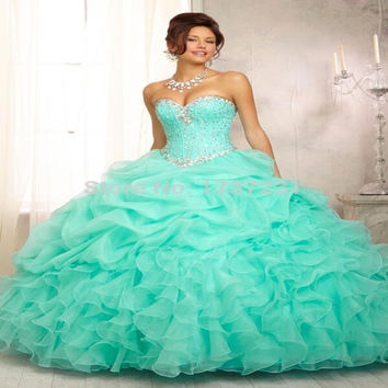IN Stock Mint Green Quinceanera Dresses 2016 Crystal Sweetheart Gorgeous Ball Gown vestidos de 15 anos cheap quinceanera gowns