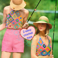 1970s 2 Granny Square Halter Sun Tops Vintage Crochet Pattern Hippie Halter Top sex appeal easy fun make with left-over yarn Vintage Beso