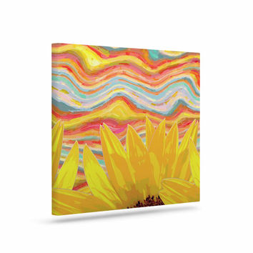 "Suzanne Carter ""Sunflower Dreaming "" Yelllow Teal Canvas Art"