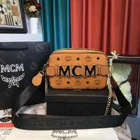 MCM Women Leather Shoulder Bag Satchel Tote Handbag