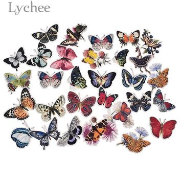 Lychee 31pcs Butterfly Stickers Colorful Adhesive Diary Decals DIY Album Arts Crafts Scrapbooking Decoration
